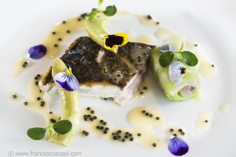 Ombrina, zucchine Trombetta, caviale e limone