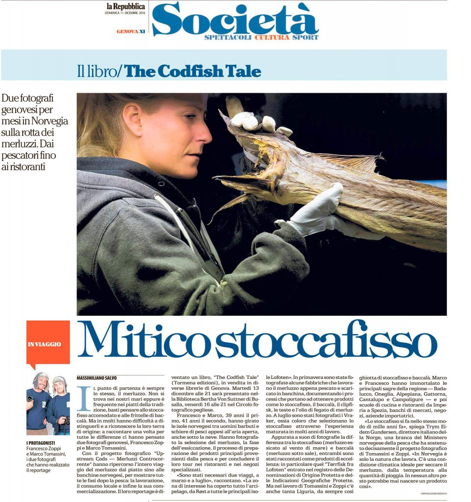 Upstream Cods on paper La Repubblica