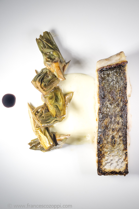 Ligurian fish, artichoke and licorice