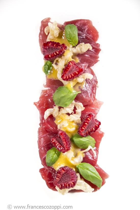 Tuna Carpaccio, raspberries, basil, Passion fruit