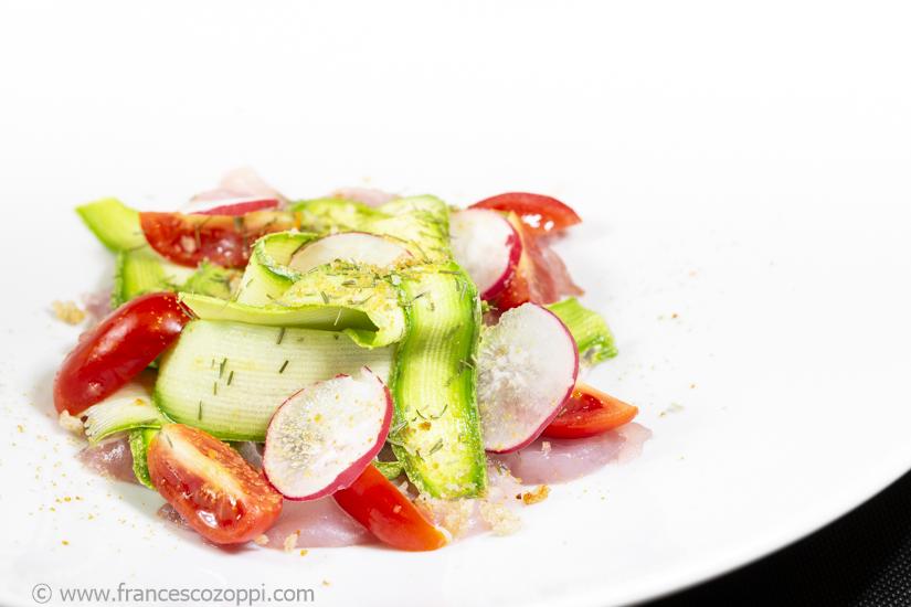 Carpaccio di ricciola zucchine bottarga